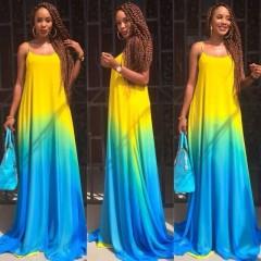 LADY  Summer backless fashion Yellow gradient blue strap Sexy dress Women Bodycon Bandage long maxi s blue