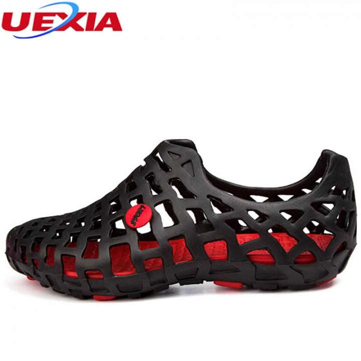 Summer Men Fashion Flats Hollow Out Hole Beach Breathable Sandals light Casual Beach Shoes black771 6.5