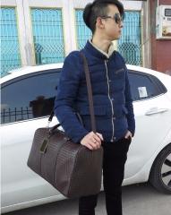 Fashion PU Leather Men Travel Bag Versatile Women Travel Bag Waterproof Black Cool Zipped Shoulder