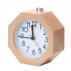 Round Wooden Alarm Clock No Ticking Snooze Backlight Digital Clock Needle Table Clock Home Decorat