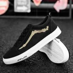 Fooraabo Men Shoes 2018 New Fashion Casual Students Black Board Shoes Men Breathable Canvas Shoes black193 39