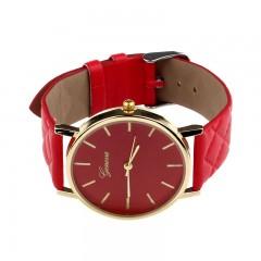 New watch women Checkers Faux lady dress watch, women's Casual Leather quartz-watch Analog Red201447598