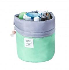 Fashion Barrel Shaped Travel Cosmetic Bag Make Up Bag Drawstring Elegant Drum Wash Kit Bags Makeup