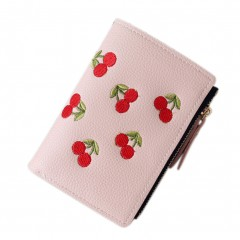 Fashion Women Short Wallet PU Leather Cherry Embroidery Coin Purse Card Holders Lady Girl Mini Mon