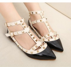 Woman Fashion Spring Autumn shoes  Patent Leather Shoes Stylish With Double Straps Flat Shoes Party Black193 35