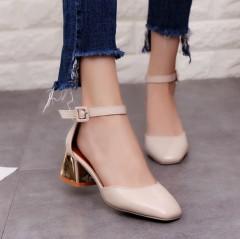 fashion New style women shoes  Mid heels women sandals female thick heel women shoes Beige771 35