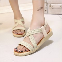 New Summer Women Sandals Bohemia Comfortable Ladies Shoes Beach Gladiator Sandal Women Casual Shoe Beige771 36