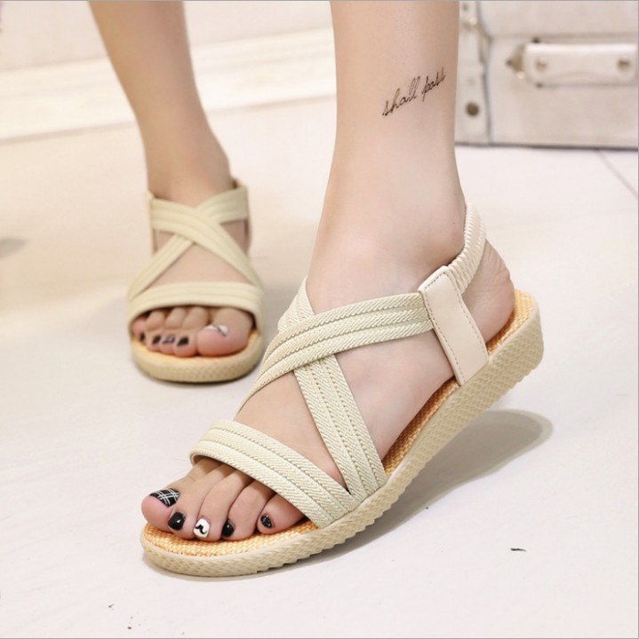 New Summer Women Sandals Bohemia Comfortable Ladies Shoes Beach Gladiator Sandal Women Casual Shoe Beige771 36