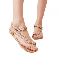 Women shoes flat sandals comfort gladiator sandals women flip flops Summer Classic beading beige193 5