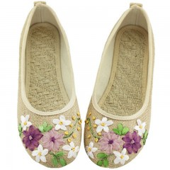 2018 New Women Flower Flats Slip On Cotton Fabric Casual Shoes Comfortable Round Toe Student Flat 2812W beige193 5