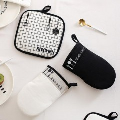 Home Barbecue Heat Holder Gloves Cotton Kitchen Oven Mitts Cook Resistant Gloves Microwave White