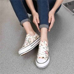 Women Canvas Shoes Summer Lace Up Women Sneakers Fashion Print Comfort Casual Flats Breathable yellow771 4.5