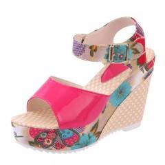 2018 Women Sandals Summer Platform Wedges Casual Shoes Woman Floral Super High Heels Open Toe red173 6