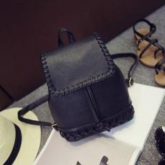 Cute Girls Weaving Drawstring Mini Backpack Women School Bag PU Leather Knitting Shoulder Bags Ruc