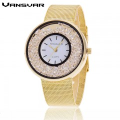 Hot Sale Fashion Stainless Steel Rose Gold & Silver Band Quartz Watch Luxury Women Rhinestone W