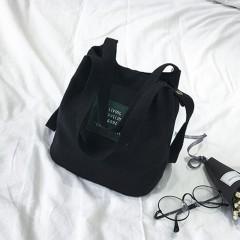 New Women Fashionable Mini Canvas Single Strap Bucket Bag Shoulder Bag Crossbody Bag Female shoppi Black193 19*12*20