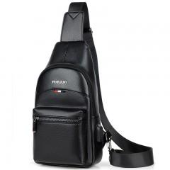 Crossbody Bag USB Charging for Men's Chest Bag Pack Casual Bag Waterproof PU Single S black193 chest bag