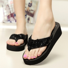 Summer beach sandals for women Rhinestone Crystal Wedges Flip Flops Shoes Woman slippers Sandalias as picture 8