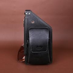 Summer Bag Men Chest Pack Single Shoulder Strap Back Bags Leather Travel Men Crossbody black 37*18.5*5