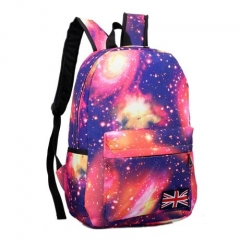 Multicolor Women Canvas Backpack Stylish Galaxy Star Universe Space Backpack Girls School Backbag Red771