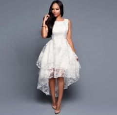 Allmall sleeveless Elegant Slim Front short back long Three-tier Vest Dress White Women Dress s white