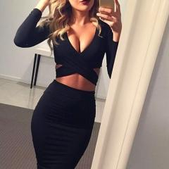 Summer Dresses 2018 Red Black White Long Sleeve Elastic Cotton Warm Party Dresses Vestidos Sexy Midi s Black193