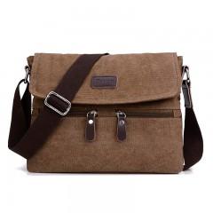 Men 's canvas shoulder bag multi - functional men' s travel leisure diagonal package solid color Brown201447515 32x7x25cm