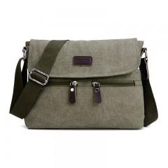 Men 's canvas shoulder bag multi - functional men' s travel leisure diagonal package solid color ArmyGreen201447516 32x7x25cm