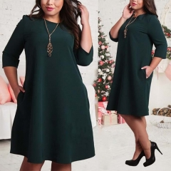 Plus Size Dresses Office Ladies Casual Loose Autumn Dress Pockets Green Red  Dress  Women Clothes l green