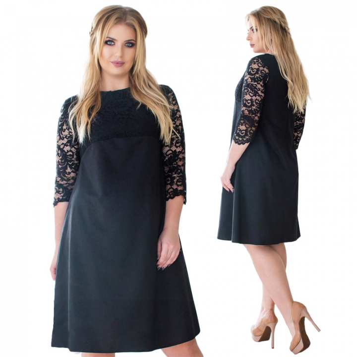 38eb7db156 2018 Spring Elegant Lady Dresses Fashion Lace Stitching A Line Midi Dress  Women Plus Size L-6XL XL Black