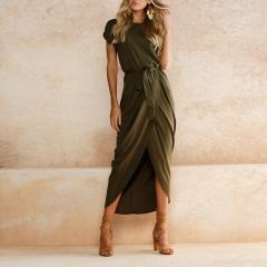 2018 Women Summer Blue Army Green Boho Beach Long Dresses Casual Sashes O-Neck short-sleeved s army green