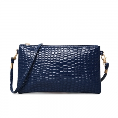 Women Bag PU Fashion Alligator Shoulder Bags Lady Messenger Cell Phone Pocket Crossbody Bag blue 20x12x1.5m