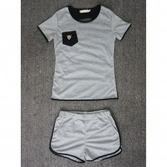 2pcs Suit Back Hollow Out Gray Pocket Short Sleeve Summer Costume Shorts Sleepwear 2PCs Set Gray691 S