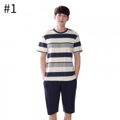 Men Pajama Set Striped Round Neck Short Sleeves for Boys Cotton Casual Pajama Sets for Male Men H style 1771 L