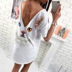 Beach Top Loose Plus Size Sundress Summer Women Deep V Backless Animal Printed T-shirt Tops Cat771 L