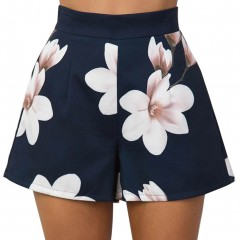 Summer Women Sexy Shorts High Waist Zipped Flowers Printing Ladies Girls Casual Wide Leg Short Tr
