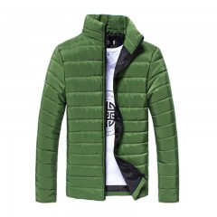 Men Winter Jacket And Coat Padded Thicken Parkas Men Fashion Stand Collar Warm Overcoat Campera H green175 XXL