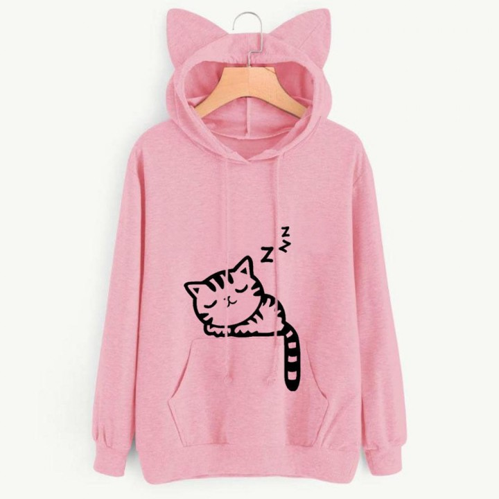 7f83b2b197 Hoodie Sweatshirts Ladies Casual Long Sleeve Sweatshirts Women Cute Cat  Pattern Print Pink1052 XL