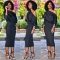 Long Sleeve Midi Dress Womens Autumn Winter Dresses Sexy Party Solid Off The Shoulder Bodycon Dress S Black