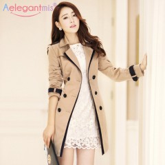 2018 Autumn Women Double Breasted Long Trench Coat Khaki With Belt Classic Casual Office Lady Bus