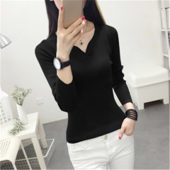 Autumn new Fashion women sweater elegant female thin V neck sweaters women slim long sleeve Knitt