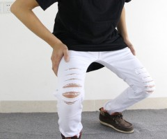 jeans for men skinny Distressed slim famous brand designer biker hip hop swag tyga white black je Black193 28