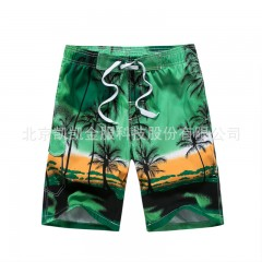 Beach shorts male leisure coconut trees printed shorts fashionable amorous feelings of Hawaii Blue173 M