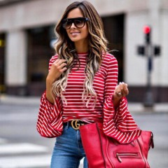 women clothes Ladies Striped Long Sleeve round neck Blouses Casual pullover Loose Polyester Shirt Red10 l