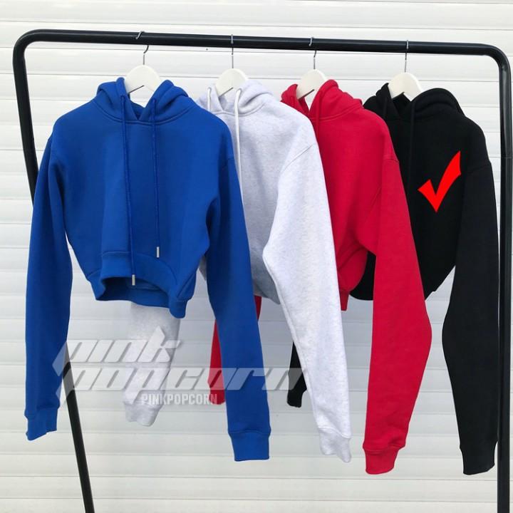 9a3d40342b91 Autumn Women Hoodies Solid Crop Hoodie Long Sleeve Jumper Hooded Pullover  Coat Casual Sweatshirt