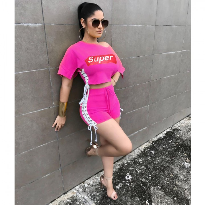 727945f4892c2 2018 New Summer Women Super Letter Print Two Piece Sets Suit Female Sexy  Lace Up Crop