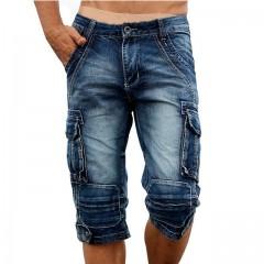 Men's Cargo Denim Shorts Retro Vintage Washed Slim Fit Jean Shorts Mulit-Pockets Military Biker Dark Blue173 28
