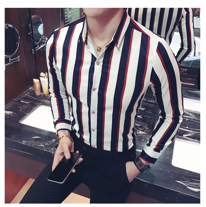 Striped Shirt Men Navy Black Red Stripe Shirt Men Long Sleeve Button