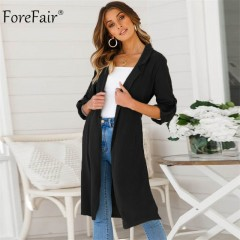 Turn Down Collar Long Sleeve Long Coats Jackets Women 2018 Autumn New Pocket Kimono Female Loose