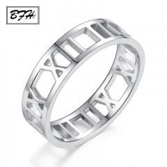 Fashion Luxury Couple Stainless Steel Rings for Women Man Wedding party Rose Gold Silver Roman 10 RoseGold175